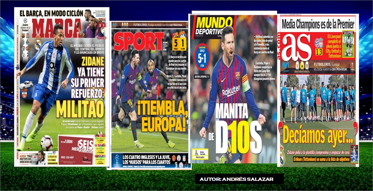 Mira las Portadas de la Prensa Deportiva de hoy 14 de Marzo