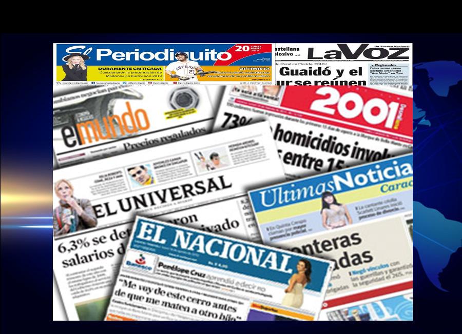Portadas de los principales Periódicos de Venezuela, martes 28 de Mayo